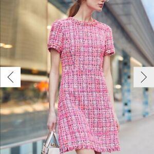 $448 New Auth KATE SPADE Spade STUD Pink MULTI TWEED Sheath Dress US-0 10 14 16