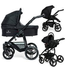 Venicci Soft black 3 in 1 travel system in black with car seat bag & footmuff