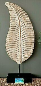 Wooden Leaf Sculpture Brown  Whitewash 76cm NEW