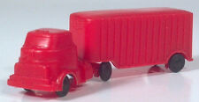 """Vintage 1950s COE Cabover Red Plastic Truck Semi 3.75"""" Scale Model"""