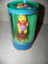 "Winnie the Pooh 4"" figurine w/ honey pot on tree stump in metal round tin Disney"