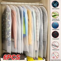 6 Pack Set Clear Polythene Garment Covers Suit Dress Dust Protector Travel Bag