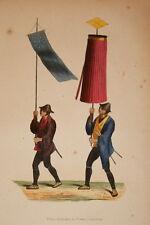 ASIE GRAVURE COULEURS JAPON PORTE ETENDART PARASOL JAPONAIS WHALEN 1843 W113
