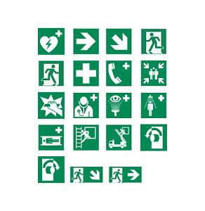 Aufkleber Rettungszeichen Schild Rettung Zeichen DIN EN ISO 7010