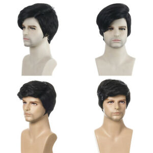 Mens Black Short Hair Wigs Fashion Handsome For Daily Party Natural Full Wig J