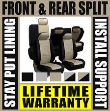 Tan & Black Deluxe Perf Leather Full Car Seat Covers Set Split Fold  SUV D73