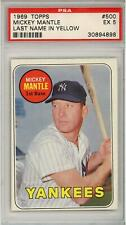 Mickey Mantle New York Yankees 1969 Topps Card #500 Yellow Name Graded PSA 5