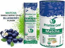 Organic Matcha Green Tea Powder | Blueberry Flavored | No Sugar | 12 Single Pack