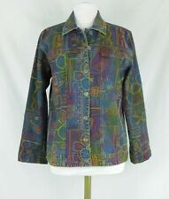 Chico's Size 1 Embroidered Blue Jean Jacket Beautiful Stylish Cute!