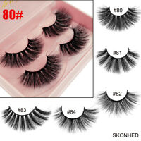 2 Pairs 3D Mink Hair Long False Eyelashes Wispy Cross Flutter Lashes Extension