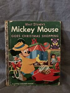 Vintage WALT DISNEY Mickey Mouse Goes Christmas Shopping Little Golden Book 1953