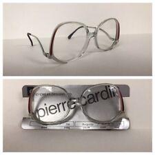 Vintage NOS 1980s Pierre Cardin Designer Burgundy Clear Oversized Eyeglasses L