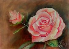 Original ACEO Oil Hand Painted PINK ROSE Spring Flower Garden Signed by JV