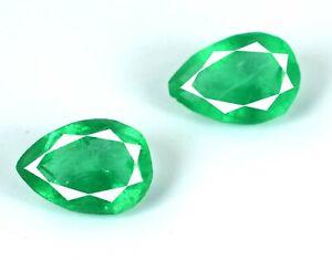 Zambian Green Emerald Natural 12-14 Ct Gemstone Pear Matching Pair AGI Certified