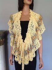 Shawl Poncho Wrap Stole Cotton Hand Knit Designer Fashion Spring Summer Hip Chic