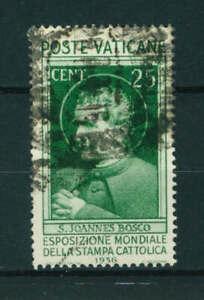 Vatican 1936 Catholic Press Exhibition 25c green stamp. Used. Sg 49