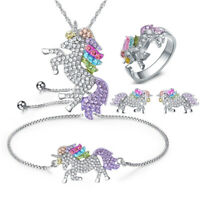 Jewelry Set 4 Pcs Rainbow Crystal Silver Unicorn Necklace Bracelet Earrings Ring