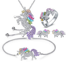 Jewelry Set 4 Pcs Rainbow Crystal Silver Unicorn Necklace Bracelet Earrings Ring