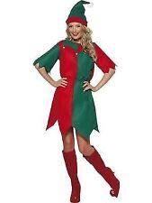 Ladies Elf Costume Plus Hat Christmas Santas Helper Fancy Dress Smiffys 21474 M - Medium