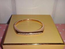 Michael Kors Women's Rose Gold Tone Stainless Steel Bangle Bracelet Crystal Pave