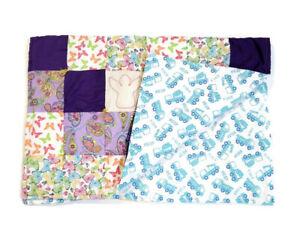 Handmade Baby Quilt Blanket Reversible Unique Multicolor Butterflies & Trucks