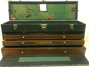 "Antique Gerstner Z 40 4 Drawer Machinist Carpenters Tool Box/ Chest - 31x14x8.5"""