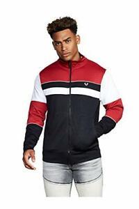 True Religion Men's Block Panel Track Jacket in Black/White/Ruby Red