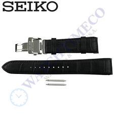 Genuine Seiko Black Calf Leather Watch Band for Premier SNAD29P SRX003P SRL021