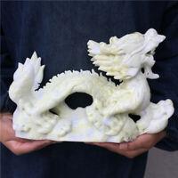 Natural green jade dragon hand carved crystal healing care 1PC