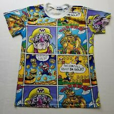 m.a.x. Super Mario Custom Shirt sz M Comic All Over Gold Wario Luigi B40