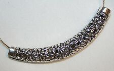 Lovley Curved Floral Filigree Silvertone Cuff Necklace  ++++
