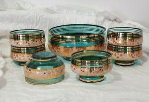60s Blue Aqua Turquoise BOHEMIA Glass Berry Dessert Ice Cream Sherbet Bowl Set