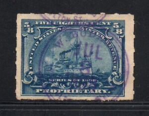 Scott # RB23, Used, F-VF, ⅝¢ Battleship, William Buderus, Brooklyn, NY