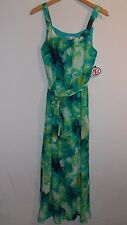 ROBBIE BEE Long Maxi Dress Multi Color & Belt Ladies Size 6 USA NWT