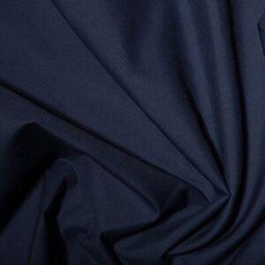 Dark French Navy Blue Plain Polycotton Fabric 114 cm width  Poplin Fabric