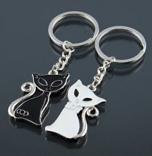 2 Porte-clés, bijoux de sac, motif couple chats blanc et noir.