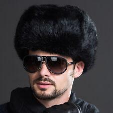 Ushanka Men Luxury Faux Fur Russian Cossack Trapper Hat Ear Muff Warmer Black