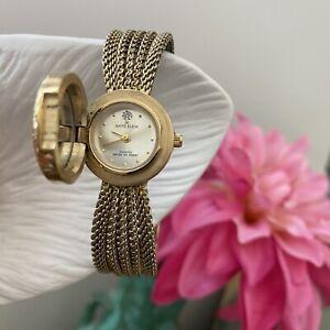 "Vintage ANNE KLEIN Diamond ""12"" Gold-Tone Covered Dial Mesh Bracelet Watch"