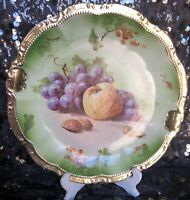 Vintage Moschendorf Porcelain Factory Hand Painted Charger Fruit with Heavy Gild