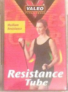 Valeo Red Medium Resistance Tube Cushion Foam Handles And Exercises Instructions