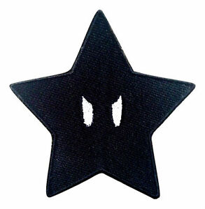 Mario Black Star Ztars Embroidered Iron On Patches Jeans Applique Badge Jacket