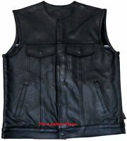 MEN'S SON OF ANARCHY COLLARLESS LEATHER MOTORCYCLE VEST 2 GUN POCKETS INSIDE