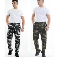 MENS CARGO COMBAT WORK TROUSERS ARMY MILITARY CAMO CAMOUFLAGE CASUAL WORK PANTS