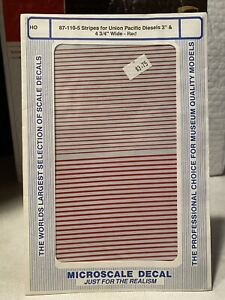 """Microscale HO Union Pacific UP Diesel 3"""" and 4-3/4"""" Red Stripe Decals #87-110-5"""