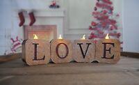 NEW Vintage Effect Log LOVE LED Tea Light Candle Holder Table Centerpiece Rustic