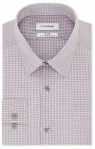 Calvin Klein STEEL Slim-Fit Performance Stretch Check Dress Shirt 14.5 14 1/2