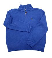 POLO RALPH LAUREN Blue Pullover Sweater Mens Size L Cotton Knit 1/4 Zip