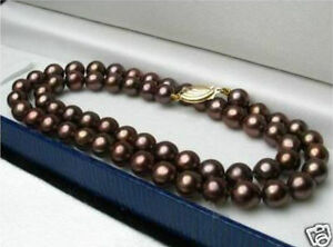 "Natural 8mm Brown South Sea Shell Pearl Round Gemstone Necklace 18"" AAA+"