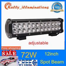 12INCH 72W CREE LED WORK LIGHT BAR FOG SPOT DRIVING OFFROAD 12V 24V ADJUST TRUCK