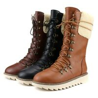 Womens Fashion Retro Round Toe Lace Up Fur Trim Mid Calf Snow Boots Plus Size